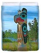 Edward Smarch Totem Pole At Teslin Tlingit Heritage Memorial Center In Teslin-yt Duvet Cover