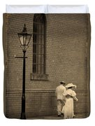 Edwardian Couple Walking On A Cobbled Street Duvet Cover