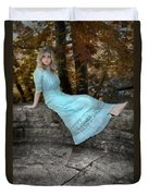 Edwardian Girl On A Stone Wall Duvet Cover