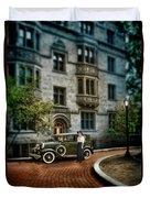 Edwardian Lady By Car Duvet Cover