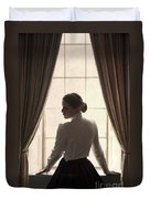 Edwardian Woman At The Window Duvet Cover