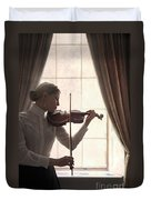 Edwardian Woman Playing Violin At The Window Duvet Cover