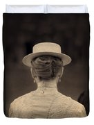 Edwardian Woman With Straw Boater Rear View Duvet Cover