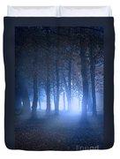 Eerie Woodland Scene At Nigh Time In Fog Duvet Cover