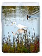 Egret And Coot In Autumn Duvet Cover