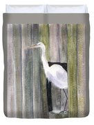 Egret At John's Pass Duvet Cover