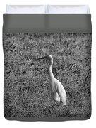 Egret In Black And White Duvet Cover