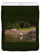 Egret In Central Park Duvet Cover