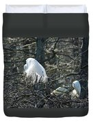 Egret In Full Display Lake Martin Louisiana Duvet Cover