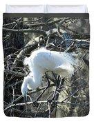 Egret In Lake Martin Swamp Louisiana Duvet Cover