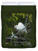 Louisiana Egret With Babies In Swamp Duvet Cover