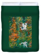 Egret Reflections Duvet Cover