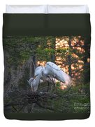 Egrets At Nest Duvet Cover