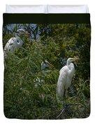Egrets In Tree Duvet Cover