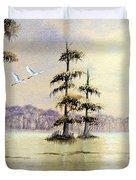 Egrets Over Wakulla Springs Duvet Cover