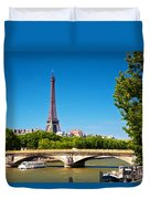 Eiffel Tower And Bridge On Seine River In Paris France Duvet Cover