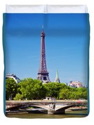 Eiffel Tower And Bridge On Seine River In Paris Duvet Cover