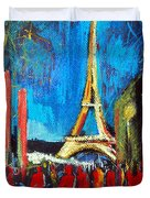 Eiffel Tower And The Red Visitors Duvet Cover