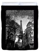 Eiffel Tower Black And White Duvet Cover