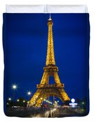 Eiffel Tower By Night Duvet Cover