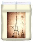 Eiffel Tower Design Duvet Cover