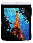 Eiffel Tower Impressionist Duvet Cover