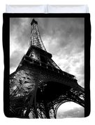 Eiffel Tower In Black And White. Ominous Sky Overhead Duvet Cover