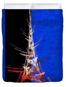 Eiffel Tower In Red On Blue  Abstract  Duvet Cover