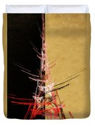 Eiffel Tower In Red On Gold  Abstract  Duvet Cover