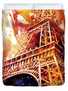 Eiffel Tower In Red Duvet Cover