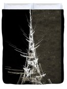 Eiffel Tower In White Bw 2 Abstract Duvet Cover