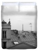 Eiffel Tower Over The Rooftops Duvet Cover