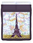 Eiffel Tower Pointillism Duvet Cover