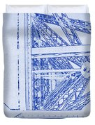 Eiffel Towers Steel Frame Blueprint Duvet Cover