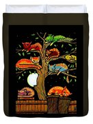 Eight Tree Cats Duvet Cover