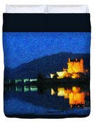 Eilean Donan At Night Duvet Cover