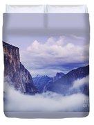 El Capitan Rises Above The Clouds Duvet Cover