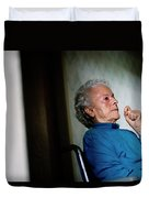 Elderly Woman Sitting In A Wheel Chair Duvet Cover