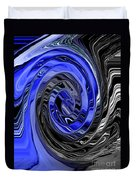 Electric Blue Wound Into Black And White Abstract Duvet Cover