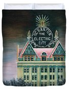 Electric City At Night Duvet Cover