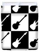 Electric Guitar Checkerboard Duvet Cover