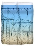 Electricity Pylons Standing In A Row Duvet Cover