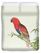 Electus Parrot On A Bamboo Shoot Duvet Cover