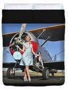 Elegant 1940s Style Pin-up Girl Duvet Cover