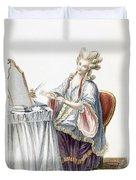 Elegant Lady At Her Dressing Table Duvet Cover by Pierre Thomas Le Clerc