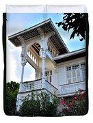 Elegant White House And Balcony Duvet Cover