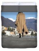 Elegant Woman Walking Duvet Cover