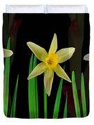 Elegant Yellow Flowers On Green Shoots Duvet Cover