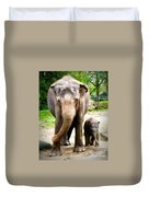 Elephant Baby Olli With Mommy Duvet Cover