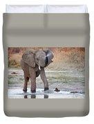 Elephant Calf Spraying Water Duvet Cover